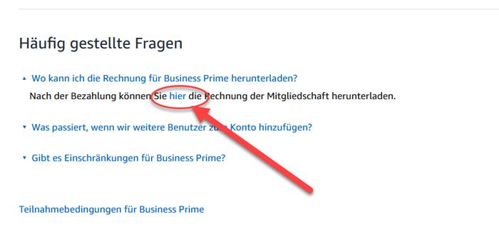 Link zur Amazon Prime Rechnung