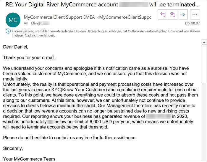 Screenshot E-Mail Management-Entscheidung zur Umsatzschwelle