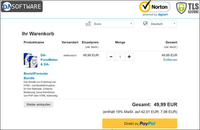 Screenshot MyCommerce Warenkorb